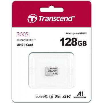 Transcend 128GB Micro SDHC Memóriakártya [95MB/S] USD300S TS128GUSD300S