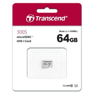 Transcend 64GB Micro SDXC Memóriakártya [95MB/S] USD300S TS64GUSD300S
