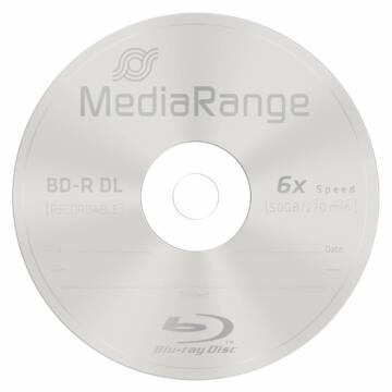 Mediarange BD-R DL 6X 50 GB Blu-Ray Lemez - Papírtokban (1) - MR508/P