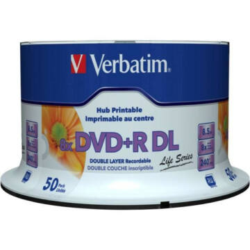 Verbatim DVD+R 8x 8.5GB DL Life Series Printable Cake (50) - 97693