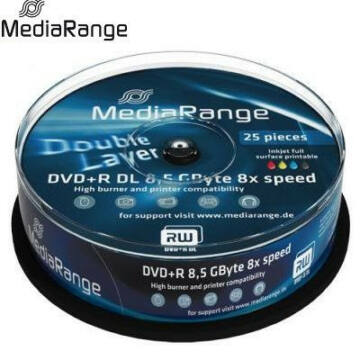 MediaRange DVD+R Dual Layer 8x 8.5GB Nyomtatható Felületű Lemez Cake (25) - MR474