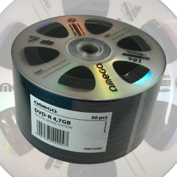 Omega DVD-R 4,7GB Lemez, Digital Movie Edition Ezüst - Shrink (50) - 42904