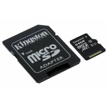 Kingston Canvas Select 64GB microSD memóriakártya + SD adapter Class 10 UHS-I (80MB/s olvasás) (SDCS/64GB) - SDCS_64GB