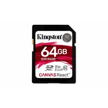 Kingston 64GB Canvas React SDXC Memóriakártya (100/80 Mb/s) - SDR/64GB