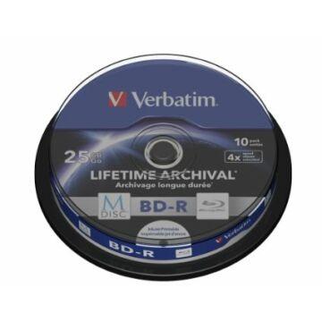 Verbatim M-Disc BD-R 4X 25 gB Teljes Felületén Nyomtatható Blu-Ray Lemez - Cake (10) - 43825