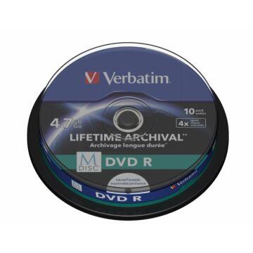 Verbatim M-Disc DVD-R 4X 4,7GB Teljes Felületén Nyomtatható Lemez - Cake (10) - 43824