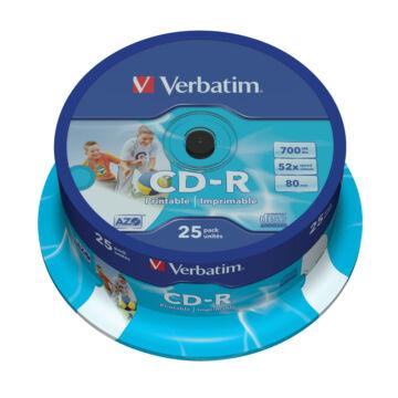 Verbatim CD-R 52X Teljes Felületén Nyomtatható Lemez - Cake (25) - 43439