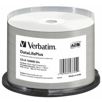 Verbatim CD-R Professional 52X Teljes Felületén Nyomtatható Lemez /NO ID/ - Cake (50) - 43745