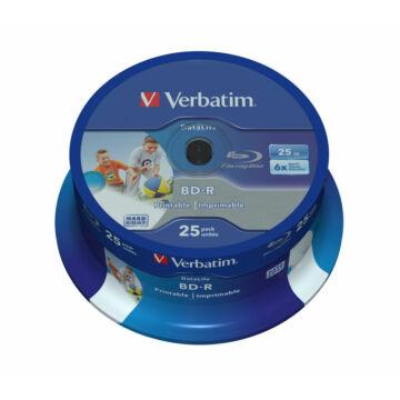 Verbatim BD-R Datalife 25 gB 6X Teljes Felületén Nyomtatható Blu-Ray Lemez - Cake (25) - 43811