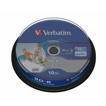 Verbatim BD-R Datalife 25 gB 6X Teljes Felületén Nyomtatható Blu-Ray Lemez - Cake (10) - 43804