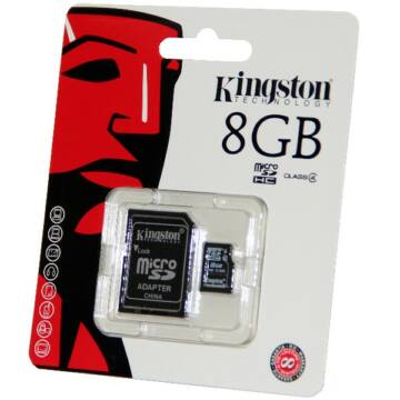 Kingston 8GB Micro SDHC Memóriakártya Class 4 + Adapter (SDC4/8GB) - SDC4_8GB