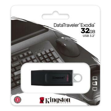 KINGSTON EXODIA DATA TRAVELER PENDRIVE 32GB USB 3.2 Gen1 Fekete