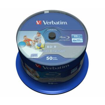 Verbatim BD-R 6X 25 gB Htl Teljes Felületén Nyomtatható Blu-Ray Lemez - Cake (50) - 43812
