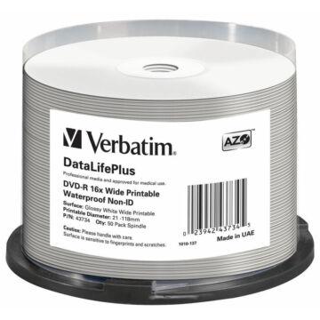 Verbatim DVD-R 16X Nyomtatható Fényes Felületű Vízálló Lemez /NO ID/ - Cake (50) - 43734