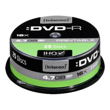 Intenso DVD-R 4,7GB Teljes Felületén Nyomtatható Lemez - Cake (25) - 4801154
