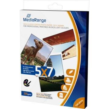 Mediarange MRINK114- Papír 130X180mm Fényes 220 g,50Db - MRINK114