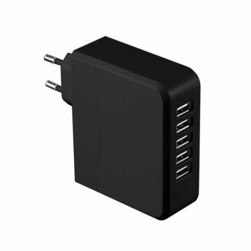 Platinet Családi Töltő 5 X USB 6,8A Fekete - 42838