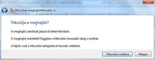 BitLocker titkosítás elkezdése